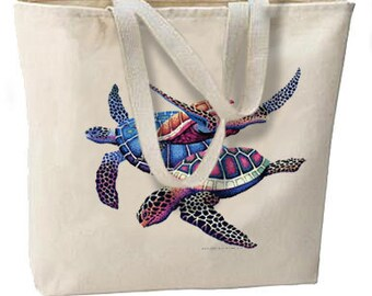 Tropical Turtles Oversize Tote Bag, Great For Beach, Shopping, Overnight, All Purpose