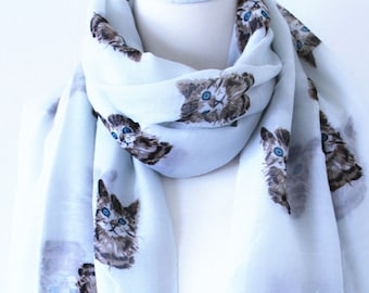 Soft Long Wrap Scarves/Cats Print Scarf/Gray and Brown/Spring Summer Scarf/Lightweight Women Scarves