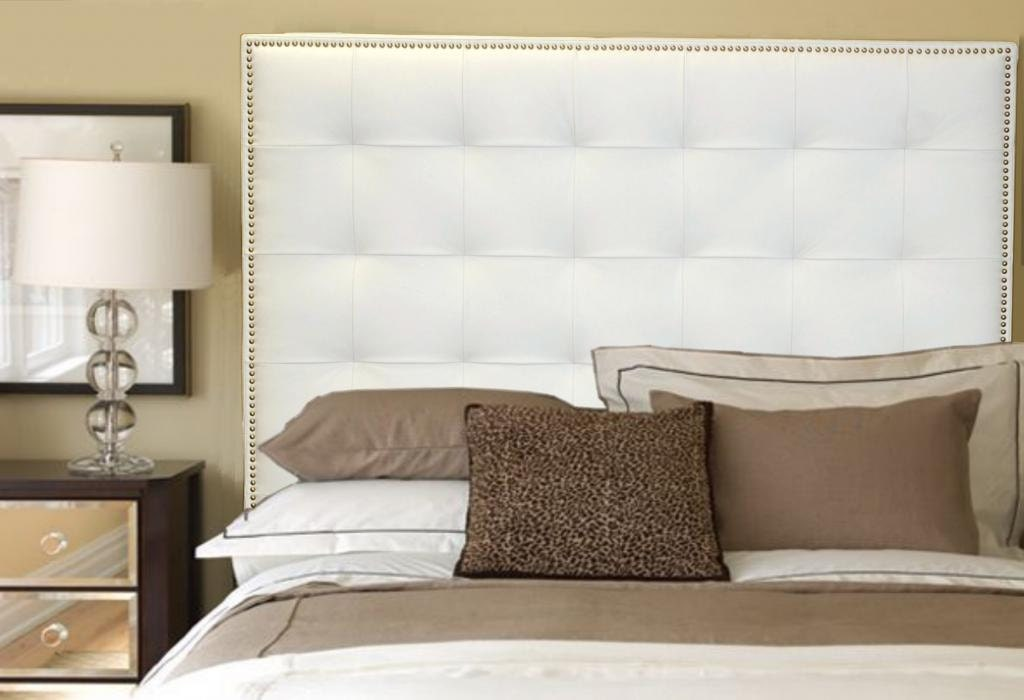 Wayfair Tufted Headboard And Metal Headboard Wooden White: King Size White Genuine Leather Buttonless Tufted