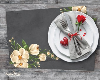 Printable placemat in chalked blackboard with elegant white flowers, valentine placemat, wedding placemat, Instant download