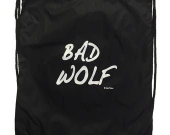 Drawstring Nylon Backpack 10th Who Doctor Bad Wolf