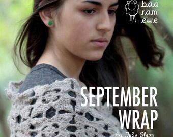 Shawl crochet pattern, September wrap designed by Julie Glaze, crochet pattern using Titus wool.