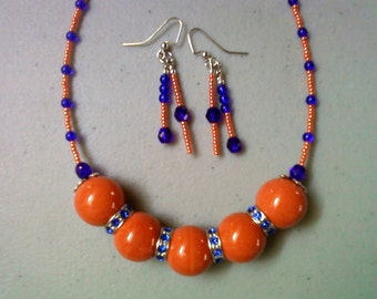 Orange and Blue Chunky Necklace and Earrings (1019)