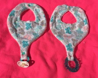 Pastel Butterflies Pacifier Bib - Teether Bib - Binky Bib for Infants and Toddlers Handmade
