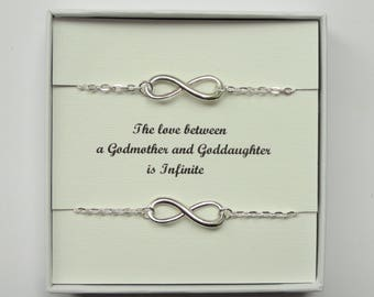 Godmother Goddaughter gift, Two infinity bracelets, Silver infinity bracelet, Infinity bracelet, Silver bracelet, Infinity jewelry, Gifts