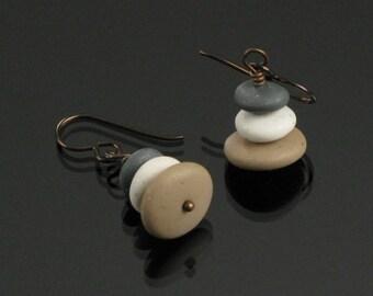 Cairn Earrings, Zen Earrings, Pebble Earrings, Rock Earrings, Stone Jewelry, Niobium earrings, Buddhist Gift for Women, Lightweight Earrings