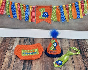 Little Monster Cake Smash Outfit - Little Guy Tie, Diaper Cover, Hat - L'il Monster Orange Blue Lime Birthday Party - Banner Sold Separately