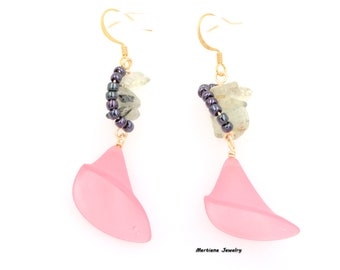 Light Pink Lucite Calla Lily Spring Dangle Earring - Prehnite Gemstone  Chips Gold Tone 1.75-in