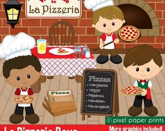 La Pizzeria Boys - Clip art and digital paper set - Pizza party clipart