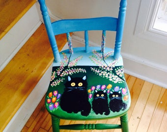 """MAUD LEWIS hand-painted chair!! """"Three Cats""""!"""