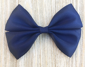 Navy Blue Stacked Grosgrain Ribbon Hairbow for girls back to school everyday wear on a Barrette , clip or baby headband
