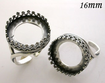 4pcs x Round 16mm Quality Cast Ring Bezel Cups For Setting Antique Silver Plated On Brass (8482ASP)