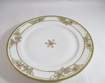 Nippon China Plate, Floral Pattern With Raised Gold