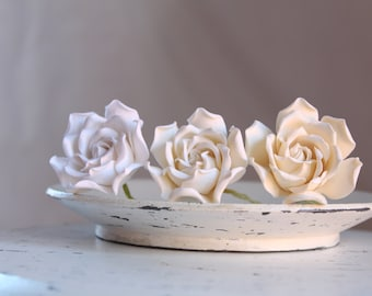 Gardenia flower pin. White, light ivory or ivory color Gardenia hairstyles for brides , bridesmaids.