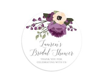 Bridal shower stickers, Plum wedding, Floral stickers, Plum bridal shower, Bridal shower labels, Bridal shower tags, Purple bridal shower