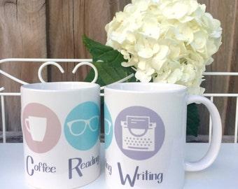 Coffee Reading Writing Logo Mug