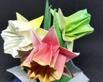 Origami Daffodils in Handfolded Origami Bonsai Vase Papercraft Art Mothers Day Gift Office Decor Unique Homemade Origami Flowers Arrangement
