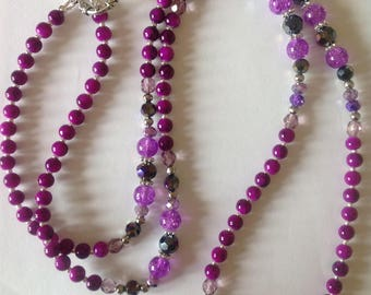 Long purple beaded necklace fashion necklace statement necklace crystal glass handmade necklace flapper necklace