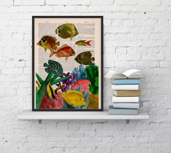 Caribbean reef at home - Dictionary art print -Home decor wall art, Bathroom wall decor, art print seaside home decor SEA097