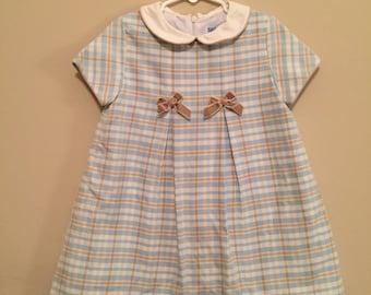 3T Blue and Tan Plaid Dress