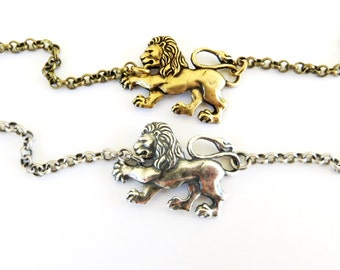 Steampunk Lion Bracelet Sterling Silver Ox Finish or Antiqued Brass Ox Finish