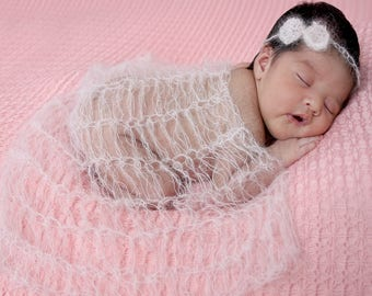 Mohair sets 9 colors (wrap with headwear) 60x30cm newborn photography props