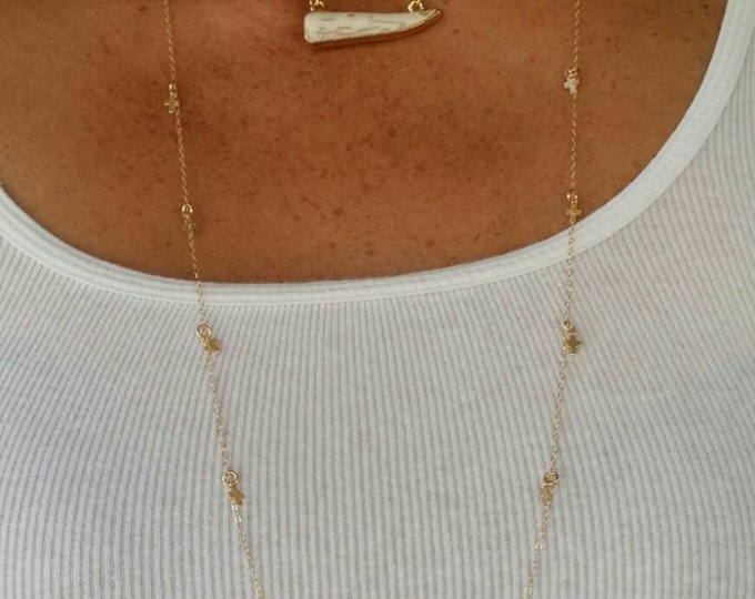 "Long Necklace, Small Cross, Charm Necklace, 30"" Gold Fill"