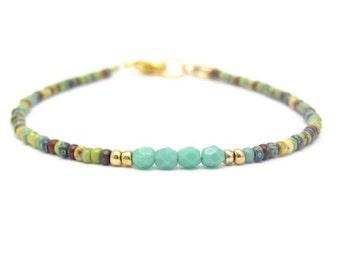 Multi Color Bracelet, Turquoise Bracelet, Seed Bead Bracelet, Friendship Bracelet, Summer Jewelry, Yoga Zen Beaded Bracelet, Miss Cece