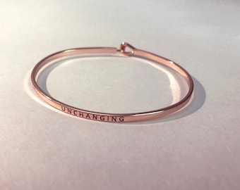 UNCHANGING Rose Gold Plated Brass Bangle Bracelet
