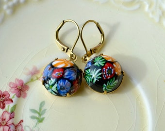 Millefiori Earrings, Black Floral Vintage Glass Earrings, Japanese Millefiori Jewelry, 50s Earrings, Folk Earrings, Mosaic Earrings, Gift UK