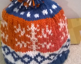 Bronco colors hat with a snowflake pattern