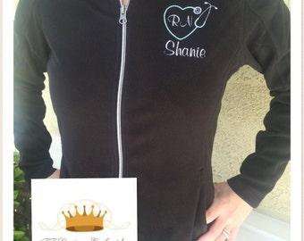 Personalized Ladies NURSE/DOCTOR Heart Stethoscope Full Zip Micro Fleece Jacket