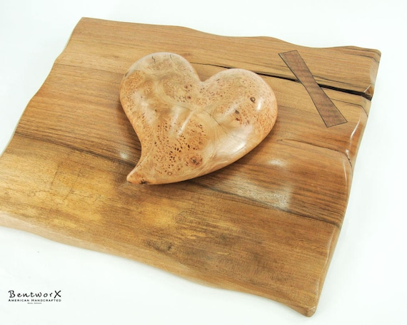 """Beautifully """"Whimsical"""" English Walnut Bowtie Holder with Antique Aged Maple Burl Heart (2 Pieces)   Bentworx™ Wall Art"""