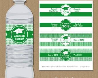 2018 Graduation Decorations, PRINTABLE High School Graduation Water Bottle Labels, College Graduation Download, Senior Graduation Labels G1