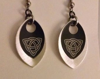 Celtic Dragon Scale Black and Silver Earrings