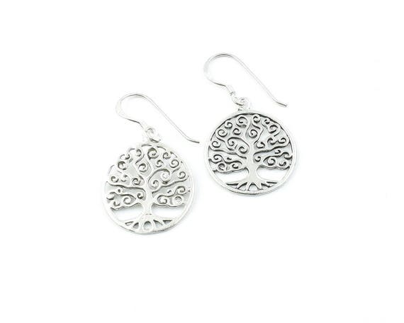 Sterling Silver Tree Of Life Earrings, Dangling Tree Earrings, Boho, Bohemian, Gypsy, Festival Jewelry