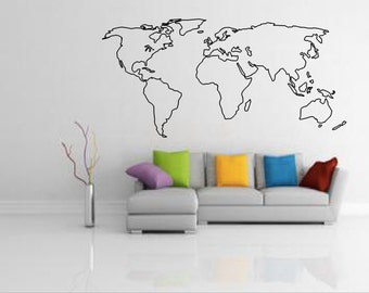 world map outline decal large world map wall decal wall art home
