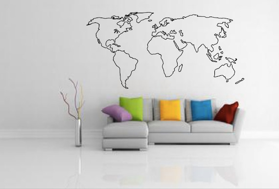 World map outline decal large world map wall decal wall gumiabroncs Image collections