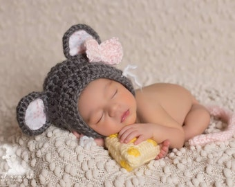Newborn Mouse Prop/ Grey and Pink Prop/ Gender Neutral Prop/ Mouse Hat/ Baby Mouse/ Girl Mouse Prop/ Crochet Mouse Hat