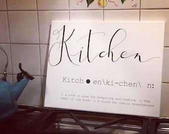 Kitchen sign, definition