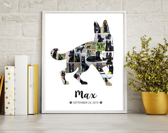 German Shepherd Dog Collage gift - Pet Memorial Pet Loss  - Any dog breed Photo Collage wall art poster sign gift - DIGITAL FILE!