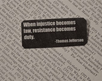 Peace Jewelry Solidarity Quote When Injustice Becomes Law Resistance becomes Duty