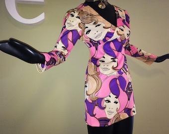 ULRA MOD Twiggy Dress Vintage 60s Ladies Faces Groovy Hippie Carnaby Street Micro Mini Dress Pink & Purple Super Model Runway Rocker Small