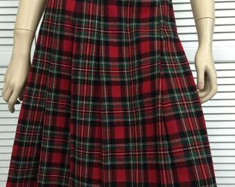 Vintage Red Plaid Tartan Skirt Wool Blend Size 6 Graff Californiawear