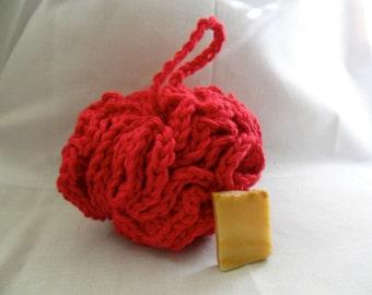 Red Bath Pouf - Red Bath Puff - Red Bath Loofah - Red Cotton Bath Pouf - Red Cotton Bath Puff - Red Cotton Bath Loofah - Ecofriendly Bath