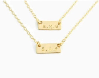 Mom and Daughter Necklace, Initial Necklace, Gold Bar Necklace, Personalized Initial Necklace, Gold Bar Necklace