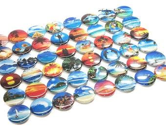 "Tropical Scenes Magnet, 1"", 1.25"", 1.5"", Button, Tropical, Beach, Palm Tree, Dolphin, Sunset, Scuba, Sail Boat, Tropical Theme, Beach Magnet"
