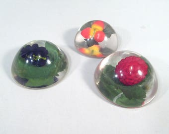 Vintage fruity paperweights, fruit paperweights, lucite paperweight, berries, raspberry, office decor