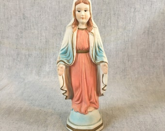 Vintage Ceramic Mid Century Madonna Figurine, Blessed Virgin, Mother Mary Statuette, Religious Gift