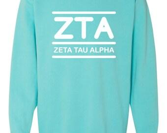 Zeta Tau Alpha Shirt, Zeta Tau Alpha Sweatshirt, ZTA Sweatshirt, ZTA Comfort Colors, ZTA Shirt, Big little shirt, sorority sweatshirt